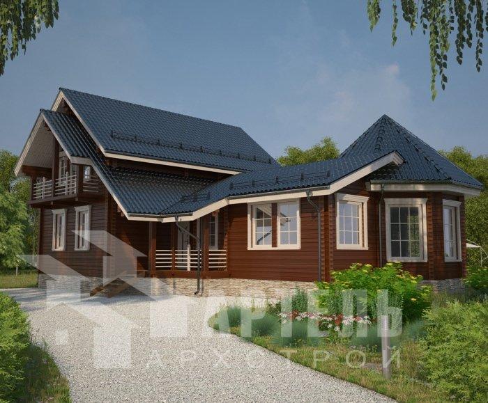 двухэтажный дом из профилированного бруса площадью от 150 до 200 кв. м. с  балконом, мансардой, эркером, проект Вариант 9 Е-1 фотография 4750