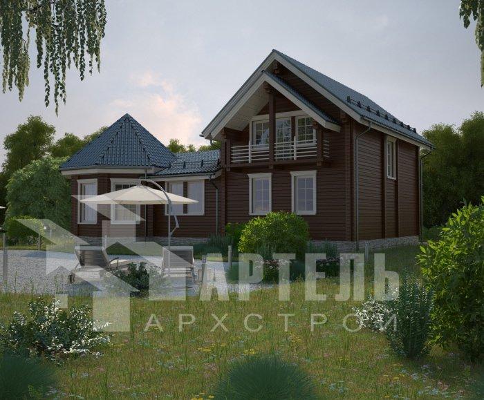 двухэтажный дом из профилированного бруса площадью от 150 до 200 кв. м. с  балконом, мансардой, эркером, проект Вариант 9 Е-1 фотография 4752