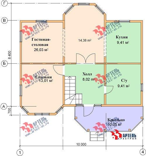 двухэтажный дом из бруса площадью от 100 до 150 кв. м. с  мансардой, террасой, эркером, проект Вариант 8.4 А фотография 964