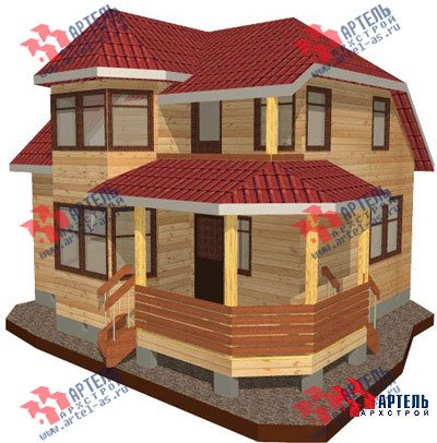 двухэтажный дом из профилированного бруса площадью от 100 до 150 кв. м. с  балконом, мансардой, эркером, проект Вариант 8 Л фотография 1072