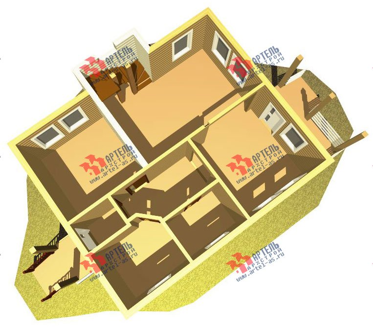 двухэтажный дом из профилированного бруса камерной сушки площадью от 100 до 150 кв. м. с  мансардой, проект Вариант 4 фотография 2507