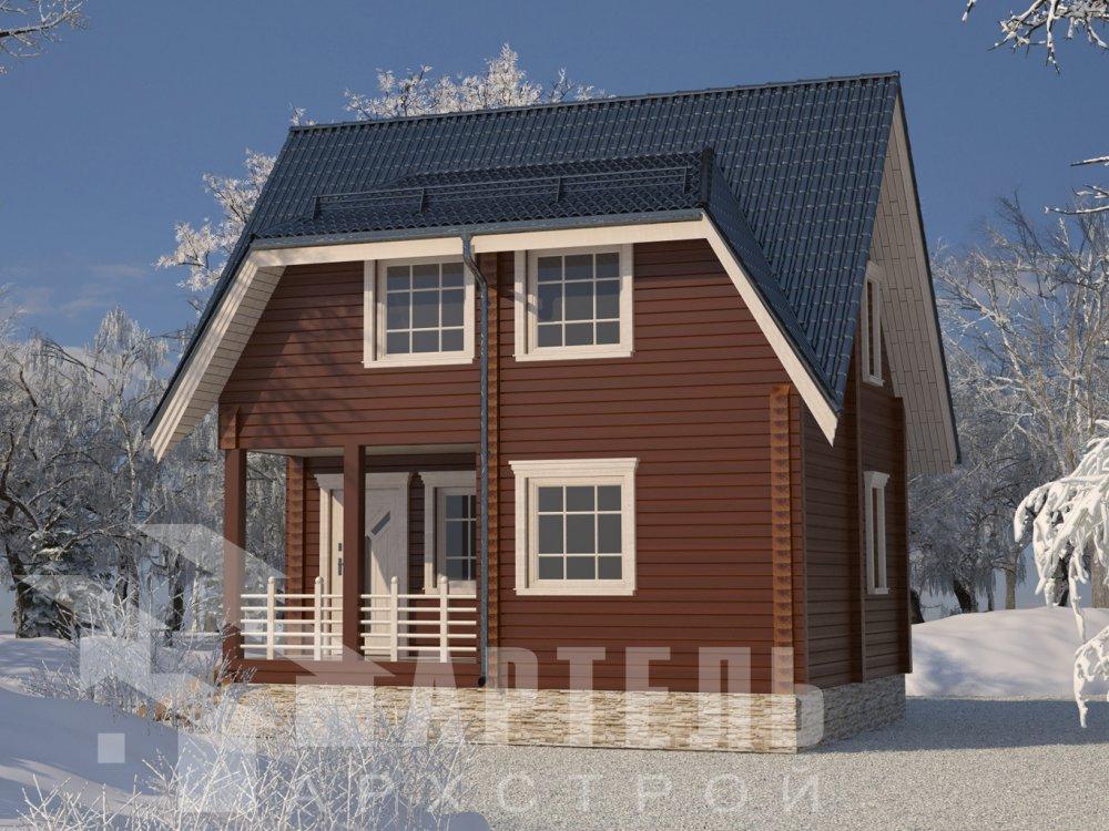 одноэтажный дом из профилированного бруса площадью от 100 до 150 кв. м. с  террасой, проект Вариант 9.8 К фотография 2611