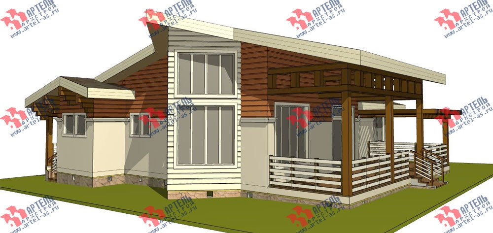 одноэтажный дом из профилированного бруса камерной сушки площадью от 150 до 200 кв. м. с  террасой, эркером, проект Вариант 5 фотография 2667