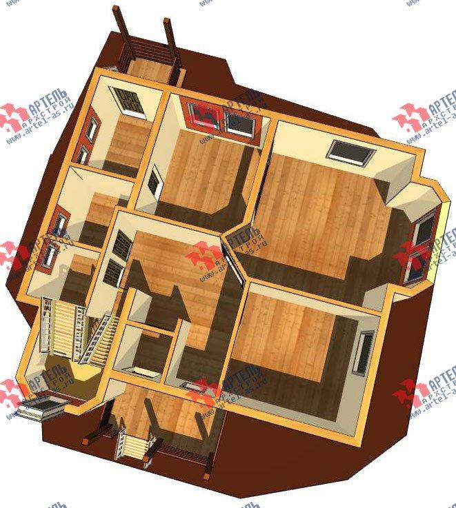 двухэтажный дом из профилированного бруса камерной сушки площадью от 150 до 200 кв. м. с  террасой, эркером, проект Вариант 8 фотография 2809
