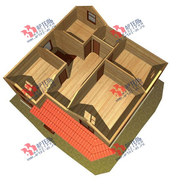 двухэтажный дом из бруса площадью от 100 до 150 кв. м. с  мансардой, эркером, проект Вариант 9 Г фотография 2200