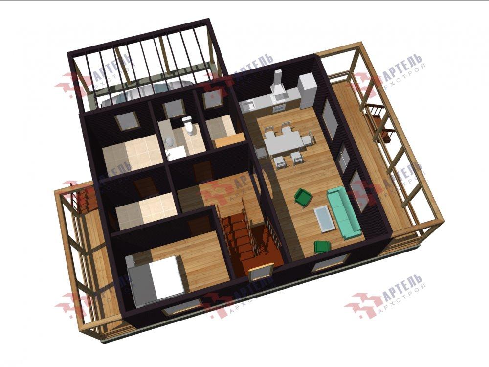 двухэтажный дом из профилированного бруса площадью от 100 до 150 кв. м. с  мансардой, эркером, проект Вариант 7 И фотография 155