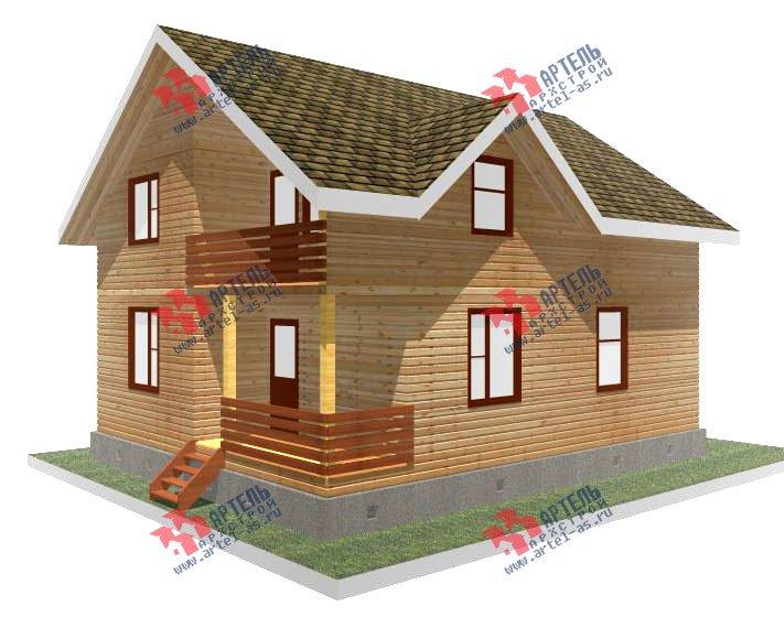 двухэтажный дом из профилированного бруса площадью от 100 до 150 кв. м. с  балконом, мансардой, эркером, проект Вариант 10 И фотография 2347
