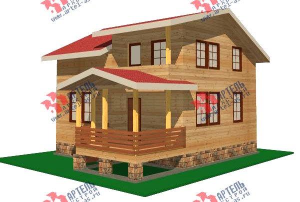 двухэтажный дом из бруса площадью от 100 до 150 кв. м. с  балконом, мансардой, террасой, проект Вариант 8 М фотография 2369
