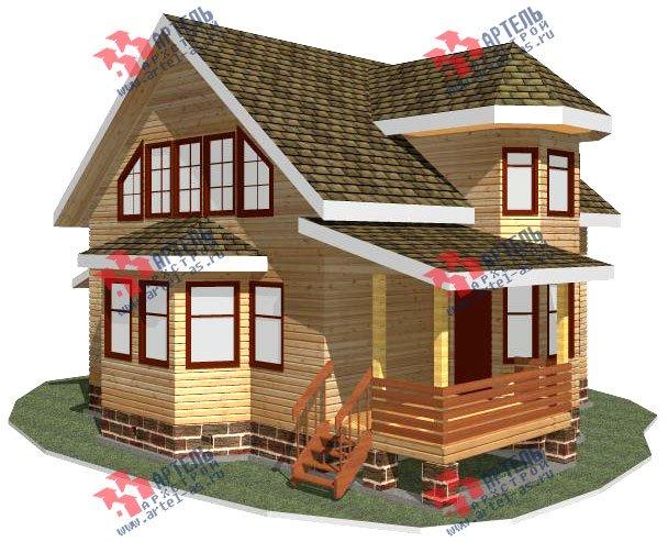 двухэтажный дом из бруса площадью от 150 до 200 кв. м. с  балконом, мансардой, террасой, эркером, проект Вариант 8 С фотография 2380