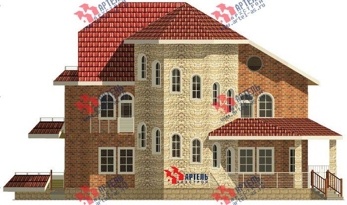 трёхэтажный дом из камня площадью свыше 200 кв. м. с  балконом, террасой, эркером, проект Вариант 4 фотография 475