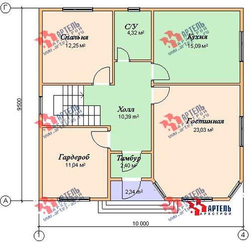 двухэтажный дом из бруса площадью от 150 до 200 кв. м. с  мансардой, эркером, проект Вариант 9.5 А фотография 1213