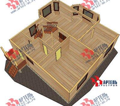 двухэтажный дом из бруса площадью от 150 до 200 кв. м. с  балконом, мансардой, эркером, проект Вариант 9 В фотография 1253