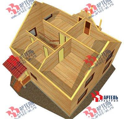 двухэтажный дом из бруса площадью от 150 до 200 кв. м. с  балконом, мансардой, эркером, проект Вариант 9 В фотография 1254