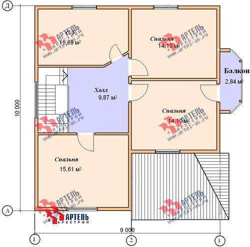 двухэтажный дом из бруса площадью от 150 до 200 кв. м. с  балконом, верандой, мансардой, эркером, проект Вариант 9 М фотография 1291