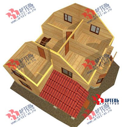 двухэтажный дом из бруса площадью от 150 до 200 кв. м. с  балконом, верандой, мансардой, эркером, проект Вариант 9 М фотография 1289