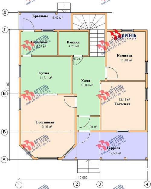 двухэтажный дом из бруса площадью от 150 до 200 кв. м. с  мансардой, террасой, эркером, проект Вариант 10 Д фотография 1361