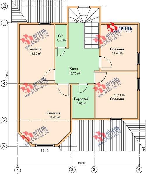 двухэтажный дом из бруса площадью от 150 до 200 кв. м. с  мансардой, террасой, эркером, проект Вариант 10 Д фотография 1362