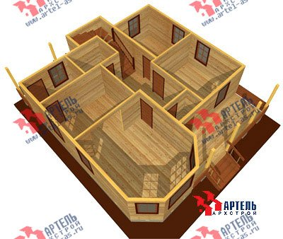 двухэтажный дом из бруса площадью от 150 до 200 кв. м. с  мансардой, террасой, эркером, проект Вариант 10 Д фотография 1359