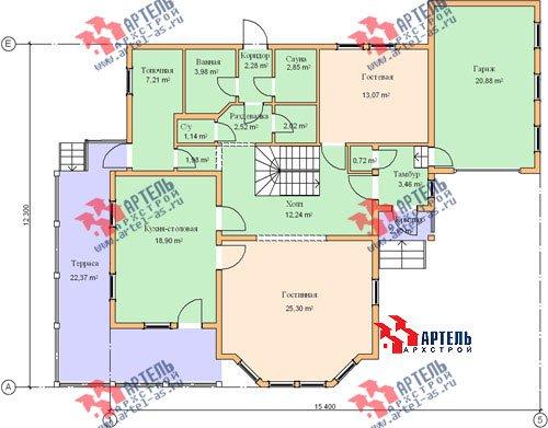 трёхэтажный дом из бруса площадью свыше 200 кв. м. с  балконом, гаражом, мансардой, террасой, эркером, проект Вариант 12.3 А фотография 1428