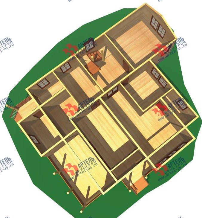 двухэтажный дом из бруса площадью свыше 200 кв. м. с  мансардой, террасой, проект Вариант 11.1 А фотография 2577