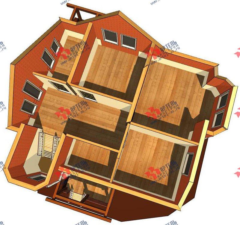 двухэтажный дом из профилированного бруса камерной сушки площадью от 150 до 200 кв. м. с  террасой, эркером, проект Вариант 8 фотография 2810
