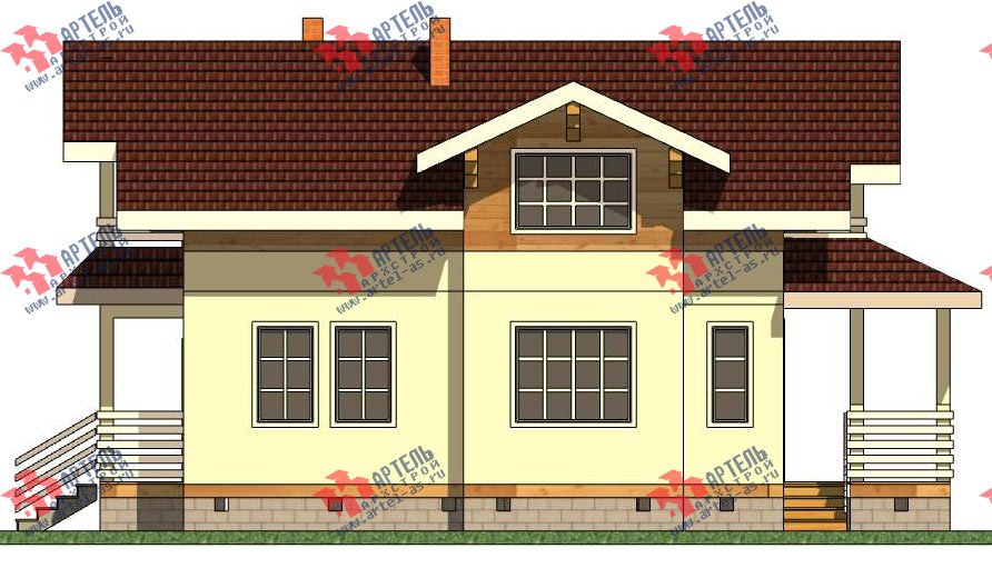 двухэтажный каркасный дом площадью от 100 до 150 кв. м. с  балконом, террасой, эркером, проект Вариант 9 фотография 2996