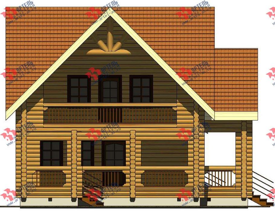 двухэтажный дом из оцилиндрованного бревна площадью свыше 200 кв. м. с  балконом, террасой, проект Вариант 3 фотография 3049