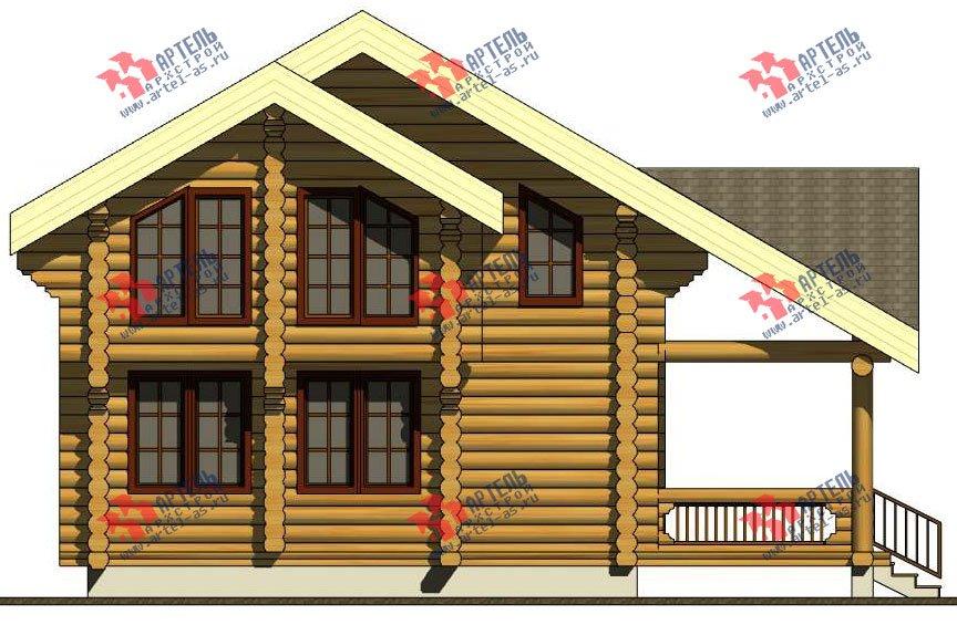 двухэтажный дом из оцилиндрованного бревна площадью от 100 до 150 кв. м. с  террасой, проект Вариант 4 фотография 3060