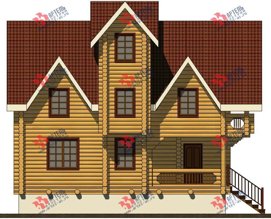 трёхэтажный дом из оцилиндрованного бревна площадью свыше 200 кв. м. с  балконом, террасой, проект Вариант 5 фотография 3083