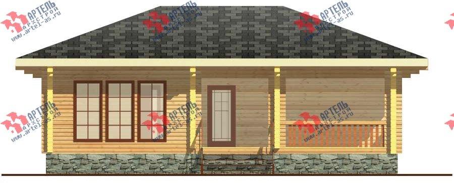 одноэтажный дом из бруса площадью до 100 кв. м. с  террасой, проект Вариант 7.8 А-1 фотография 3312