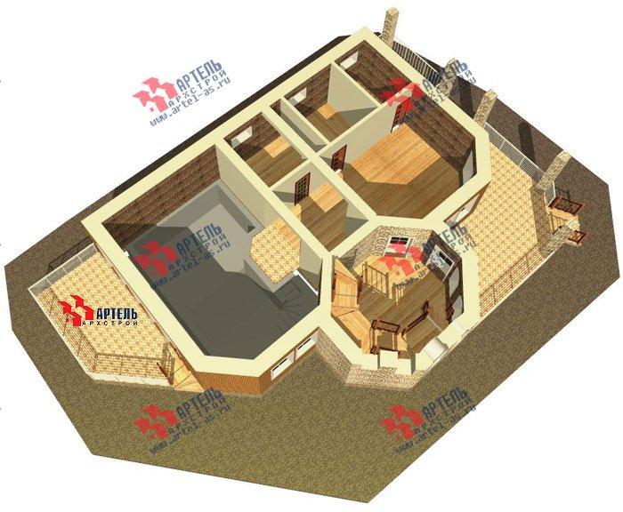 трёхэтажный дом из камня площадью свыше 200 кв. м. с  балконом, террасой, эркером, проект Вариант 4 фотография 480