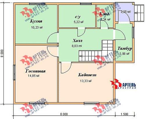 двухэтажный дом из бруса площадью от 100 до 150 кв. м. с  мансардой, проект Вариант 8 В фотография 974