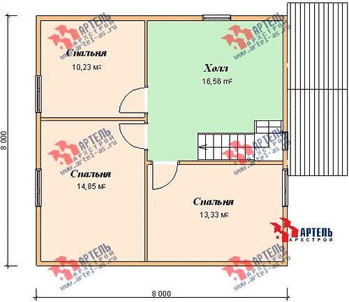 двухэтажный дом из бруса площадью от 100 до 150 кв. м. с  мансардой, проект Вариант 8 В фотография 975