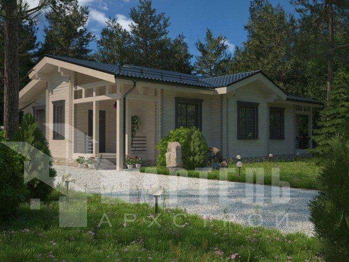 одноэтажный дом из профилированного бруса площадью от 150 до 200 кв. м. с  террасой, проект Вариант 5 фотография 4824