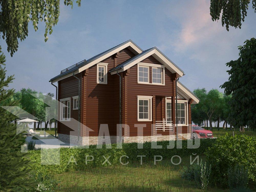 двухэтажный дом из профилированного бруса площадью до 100 кв. м. с  мансардой, проект Вариант 5.6 А фотография 4207