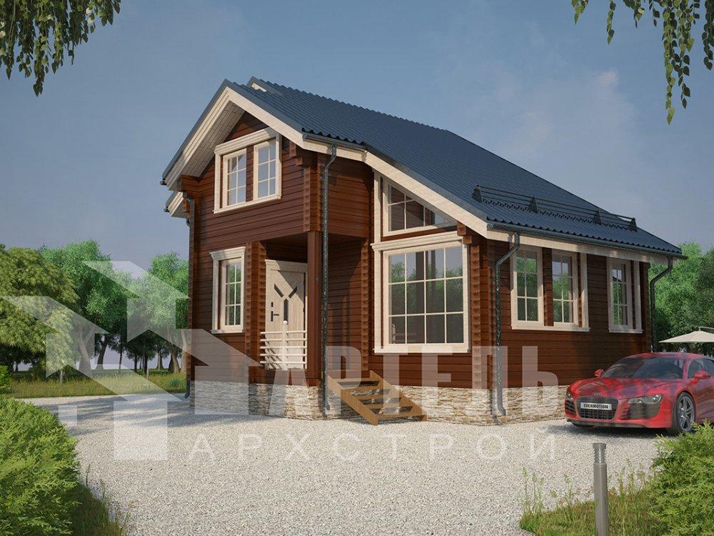 двухэтажный дом из профилированного бруса площадью до 100 кв. м. с  мансардой, проект Вариант 5.6 А фотография 4209
