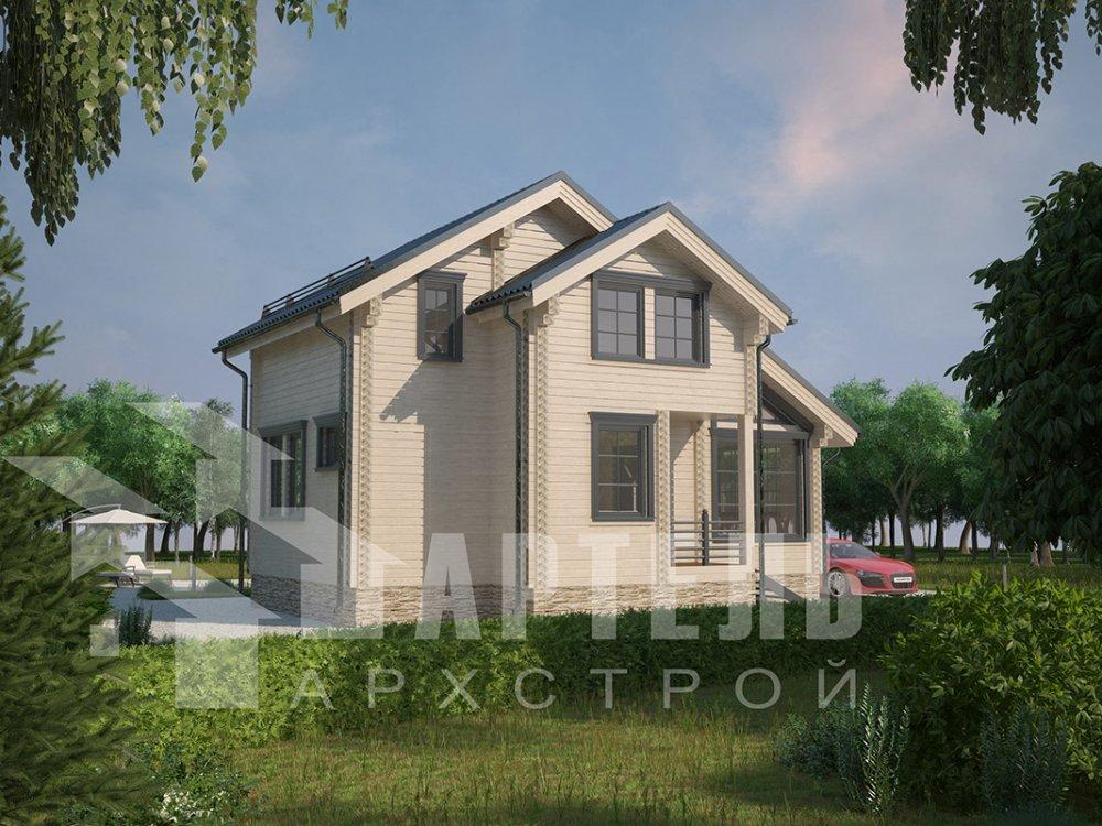 двухэтажный дом из профилированного бруса площадью до 100 кв. м. с  мансардой, проект Вариант 5.6 А фотография 4213