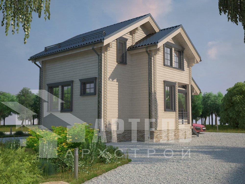 двухэтажный дом из профилированного бруса площадью до 100 кв. м. с  мансардой, проект Вариант 5.6 А фотография 4218