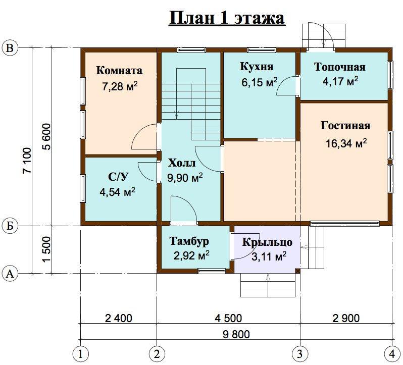 двухэтажный дом из профилированного бруса площадью до 100 кв. м. с  мансардой, проект Вариант 5.6 А фотография 4451