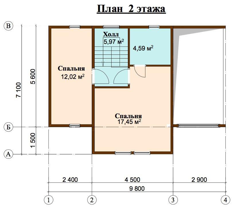 двухэтажный дом из профилированного бруса площадью до 100 кв. м. с  мансардой, проект Вариант 5.6 А фотография 4452