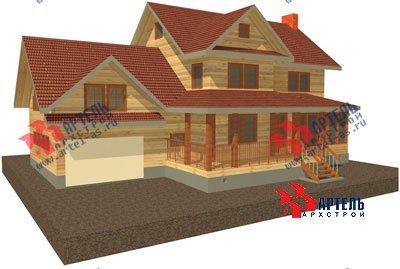 трёхэтажный дом из бруса площадью свыше 200 кв. м. с  гаражом, мансардой, террасой, проект Вариант 11.2 А фотография 1364