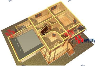 трёхэтажный дом из бруса площадью свыше 200 кв. м. с  гаражом, мансардой, террасой, проект Вариант 11.2 А фотография 1369