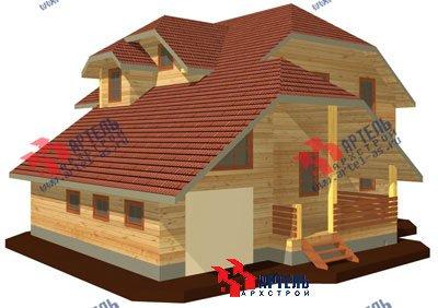 двухэтажный дом из бруса площадью свыше 200 кв. м. с  гаражом, террасой, проект Вариант 13 Б фотография 1472