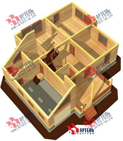 двухэтажный дом из бруса площадью свыше 200 кв. м. с  гаражом, террасой, проект Вариант 13 Б фотография 1473