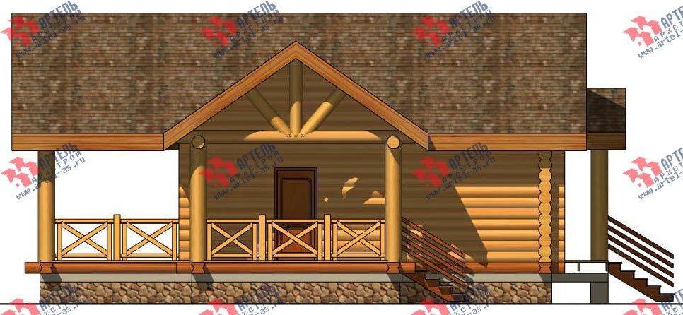 одноэтажный дом из оцилиндрованного бревна площадью до 100 кв. м. с  террасой, проект Вариант 2 фотография 3039