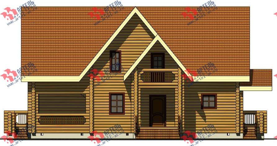 двухэтажный дом из оцилиндрованного бревна площадью свыше 200 кв. м. с  балконом, террасой, проект Вариант 3 фотография 3050