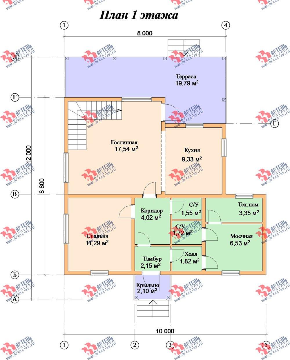 двухэтажный дом из профилированного бруса площадью от 100 до 150 кв. м. с  мансардой, террасой, проект Вариант 8.8 Б фотография 2456