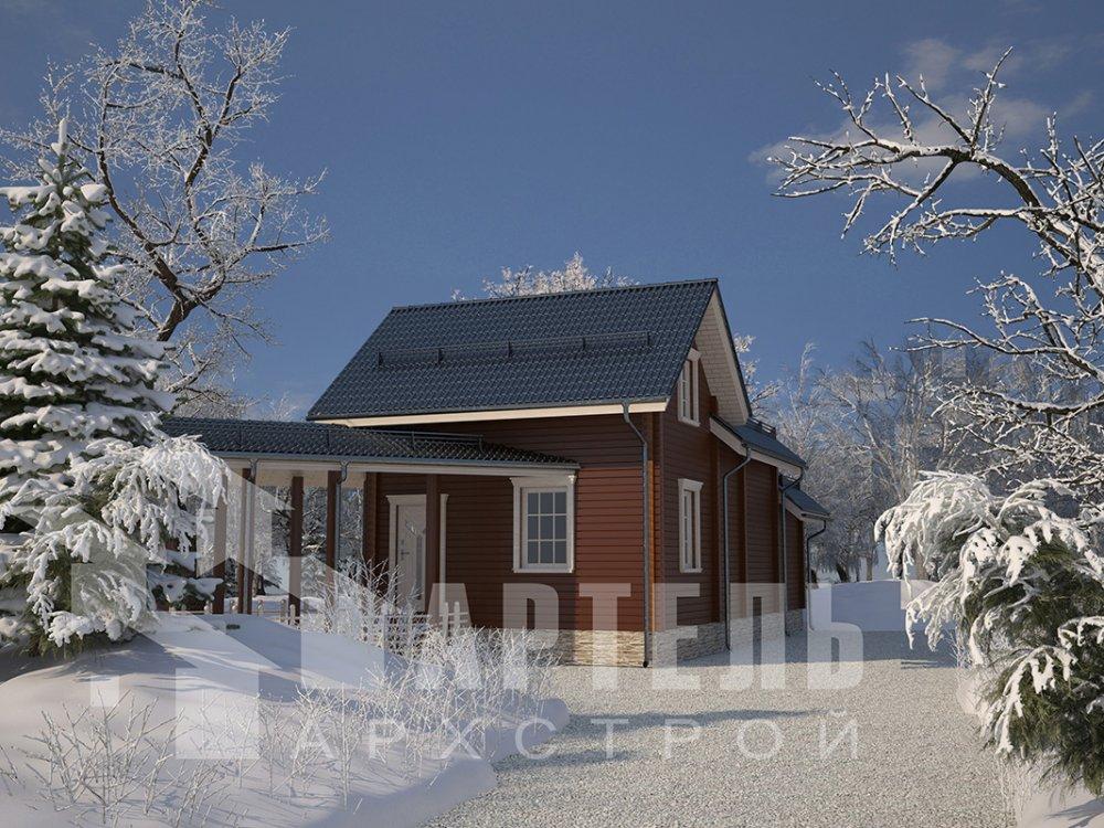 двухэтажный дом из профилированного бруса площадью от 100 до 150 кв. м. с  мансардой, террасой, эркером, проект Вариант 6.7 Б фотография 4187