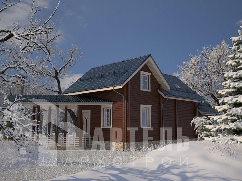 двухэтажный дом из профилированного бруса площадью от 100 до 150 кв. м. с  мансардой, террасой, эркером, проект Вариант 6.7 Б фотография 4188
