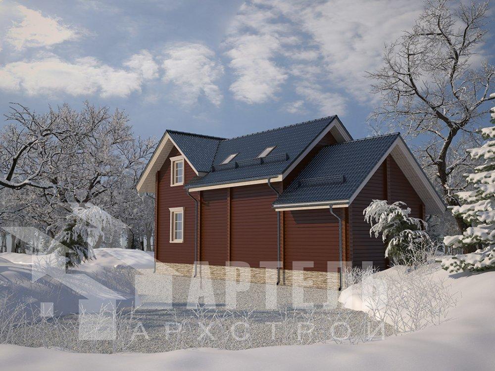 двухэтажный дом из профилированного бруса площадью от 100 до 150 кв. м. с  мансардой, террасой, эркером, проект Вариант 6.7 Б фотография 4189
